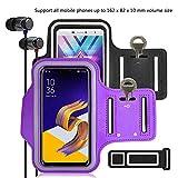 pinlu [2 Pack] Anti-Schweiß und Licht Sport Armband Fitness Für Wiko Pulp Fab 4G, Wiko Pulp 3G, Wiko Pulp 4G, Wiko Rainbow 3G, Mit Schlüsselhalter, 5.5 Zoll Armband -(Schwarz+Lila)