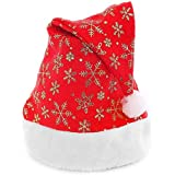 Toyshine 12 Pcs Printed Christmas Hats, Santa Claus Caps For Kids And Adults, Free Size, Xmas Caps, Assorted Design
