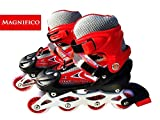 MAGNIFICO Inline Skates with PU Flashing Wheel Aluminum Body with Adjustable Length (RED)