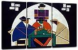 Printed Paintings Leinwand 3-teilig(120x80cm): Theo von Doesburg - Kartenspieler