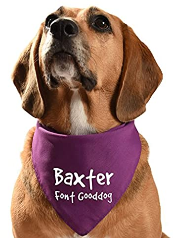 Personalised Dog Bandana (Purple, Font - Good Dog