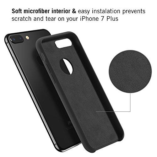 RANVOO [RAINBOW] iPhone 7 Plus Hülle, Extrem Hochwertigem Silikon Gehäuse + Microfaser Innenmantel Anti-Fingerabdruck Anti-Kratzer Case, Schwarz Schwarz