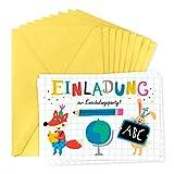 Einladungskarten zur Einschulung für 8 Personen, Einschulungsparty, Einaldung, Junge oder Mädchen, ABC, Tieren und Figuren, Schule, retro, vintage,