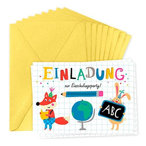 Einladungskarten zur Einschulung für 8 Personen, Einschulungsparty, Einaldung, Junge oder Mädchen, ABC, Tieren und Figuren, Schule, retro, vintage, -