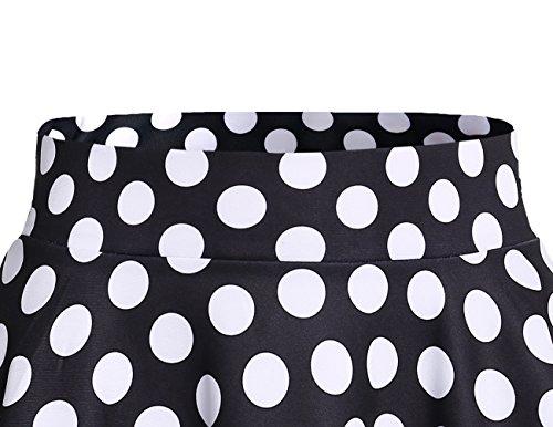 Dresstells Gonna Corta Svasata Mini Gonna da Pattinatrice Versatile Elastica Solida Colore Gonna Black White Dot