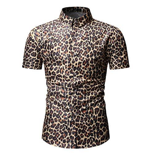 Sylar Hombre Camisa Manga Corta Slim Fit Tops Moda Personalidad Leopardo Abotonar Camisa M-3XL,Adecuado para el Trabajo, el Ocio Diario.