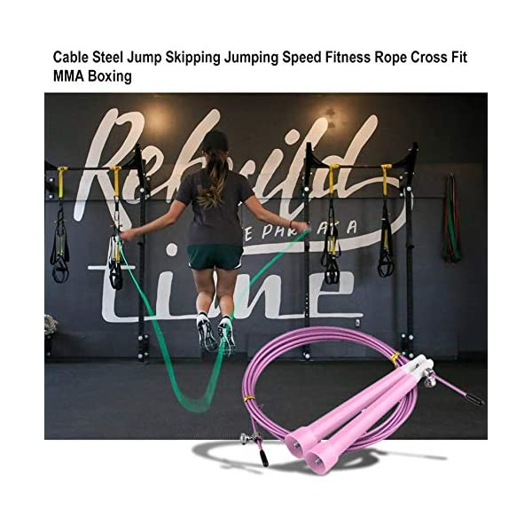Cable Steel Jump Skipping Jumping Speed ​​Fitness Cuerda Cross Fit MMA Boxing (Rosa) 4
