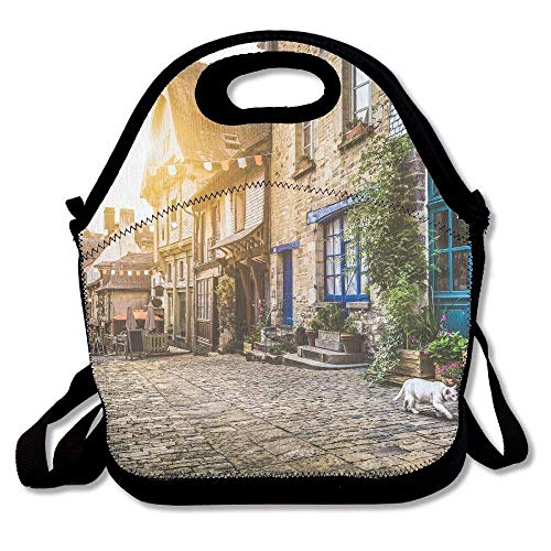 Panoramic View of Old Town In Europe In Beautiful Evening Light at Sunset with Retro Vintage Unique Lunch Tote Lunch Bag Office Reusable