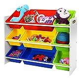 Songmics XL spielzeug regal Kinderregal Kinderzimmerregal mit Kippschutz 86 cm lang inkl. 3 große + 6 kleine Kästen GKR02W - 4
