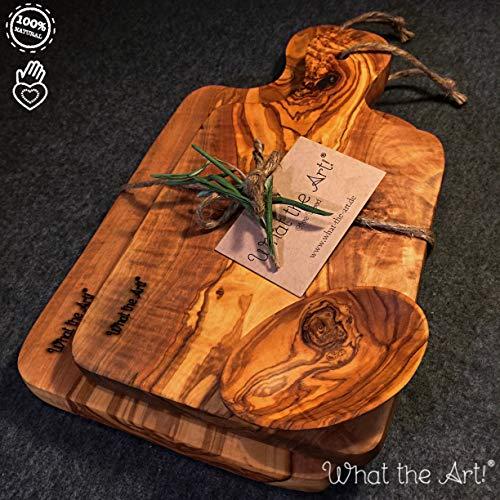 What the Art! Olive Wood | Set 2 x Olivenholz Schneidebrett inkl. 2 x Schälchen + Geschenk | Gr. M | 27cm x 13cm & 23cm x 11cm | Schneidebrett - Holzbrett - Hackbrett - Servierbrett - Küchenbrett
