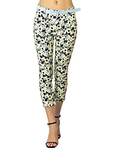 iB-iP Mujer Margarita Mezclado De Algodón Flora De Poca Altura Pantalones Capri, Tamaño: XS, Flores