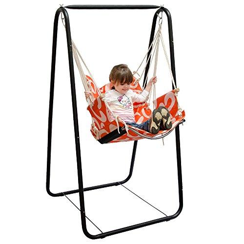 Hängesesselgestell mit Hängestuhl Schaukel für Kinder und Erwachsene Komplettset Metall-Gestell mit Hängesitz in Orange für Innen und Außen (Baby-schaukel Auf Dem Stand)