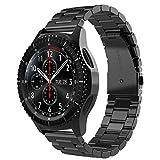 Simpeak Compatible Samsung Gear S3 Reloj Correa, Samsung Galaxy Watch (46mm) Acero Inoxidable Banda de Reemplazo Tres Hebilla de Cuentas Diseño Correa para Samsung Gear S3 Classic/Frontier - Negro