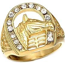 BOBIJOO Jewelry - Chevalière Bague Fer à Cheval Tête Camargue Gitan Elvis  Doré Acier Plaqué Or f1ea7946440