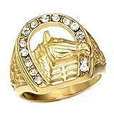BOBIJOO Jewelry - El Anillo De Sellar De Hierro De Cabeza De Caballo Camargue Gitana Elvis De Oro De Diamantes De Imitación De Acero De Oro - 19 (9 US), Dorado - Acero Inoxidable 316