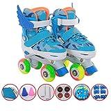 ZCRFY Zweireihige Rollschuhe Anfänger Kinder Inline Skates Verstellbar Quad Rollerblades Kinder Jungen Mädchen Erwachsene Schlittschuhe Helm Schutzausrüstung Set Geschenk,Blue-S(26-32)