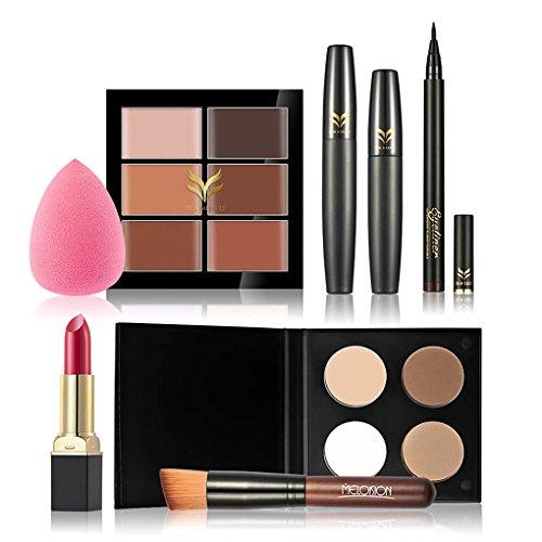 Meisijia Concealer Lipstick Poudre Eyeliner Goutte d'Eau Rose Mascara Fondation Make Up Brush Set