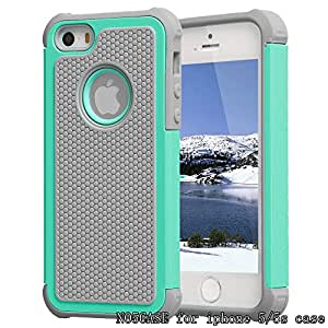 iphone 5 case iphone 5s case NO5CASE Lightweight and convenient Dual Layer Shockproof Case hard PC outer shell with soft inner TPU Hard Cover(Hot blue)
