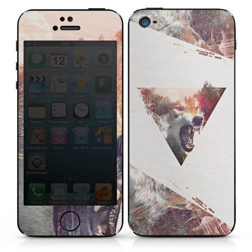 Apple iPhone SE Case Skin Sticker aus Vinyl-Folie Aufkleber Hipster Wolf Dreieck DesignSkins® glänzend