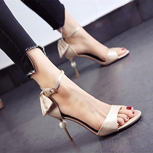 Lgk & fa estate sandali da donna estate satin Surface Pearl sandali tacco sottile extra tacchi alti scarpe da matrimonio Apricot