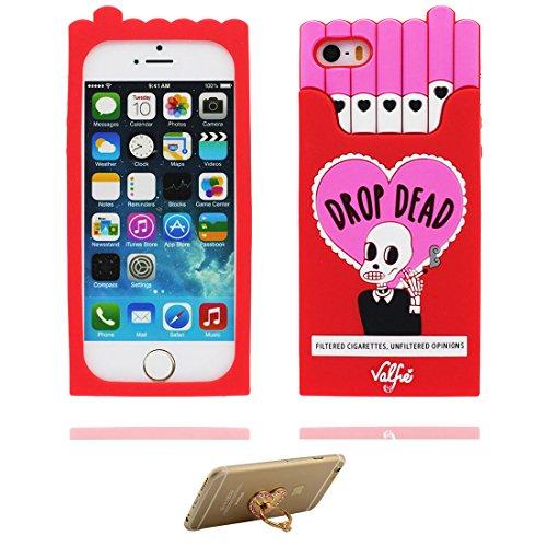 Hülle iPhone 5, iPhone 5S Case TPU 3D Cartoon Cigarette Holder Schädel Handyhülle iPhone SE 5s 5G 5C Cover Shell, haltbare weiche Skin Staub-Beleg-Kratzer beständig und Ring Ständer rot