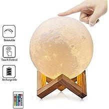 Lámpara de Luna, SIEGES Night Light 3D Magic Moon Lámpara de Mesa LED, Inalámbrico con USB Recargable, con Control Remoto, úsala como Regalo de Cumpleaños o Regalo de Aniversario, Diámetro15 cm