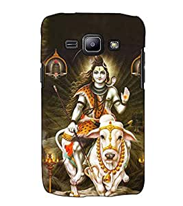 Fuson Designer Back Case Cover for Samsung Galaxy J1 (2015) :: Samsung Galaxy J1 4G (2015) :: Samsung Galaxy J1 4G Duos :: Samsung Galaxy J1 J100F J100Fn J100H J100H/Dd J100H/Ds J100M J100Mu (Nandi Virajman Shiv theme)