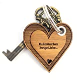 Mr. & Mrs. Panda Schlüsselanhänger Kußmäulchen Herz - 100% handmade aus Bambus - Valentinstag Herz, Liebe, Herzchen, verliebt Schlüsselanhänger Anhänger Glücksbringer Geschenke Schlüsselbund Herz, Liebe, Herzchen, verliebt