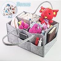 Baby Diaper Caddy Organizer Nursery Storage Bag para pañales, toallitas y juguetes. Portable Diaper Caddy con compartimentos intercambiables. Bonificación: 2 baberos Drool aleatorios