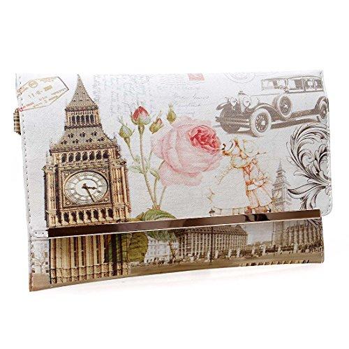 BMC da donna in similpelle a forma di francobollo Design stampa Fashion frizione borsa Rosa (The Clock Strikes)