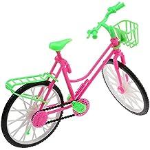 VANKER Accesorios De Muñeca Brillante Bicicleta Rosa Y Verde Bicicleta Con Cesta Para Barbie Grande