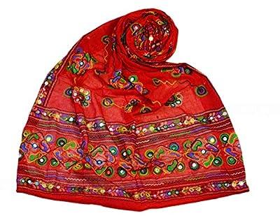 Karan Tattoos Gujarati Collection Women'S Desiged Work Cotton Dupatta2.25 Meter Red Colour