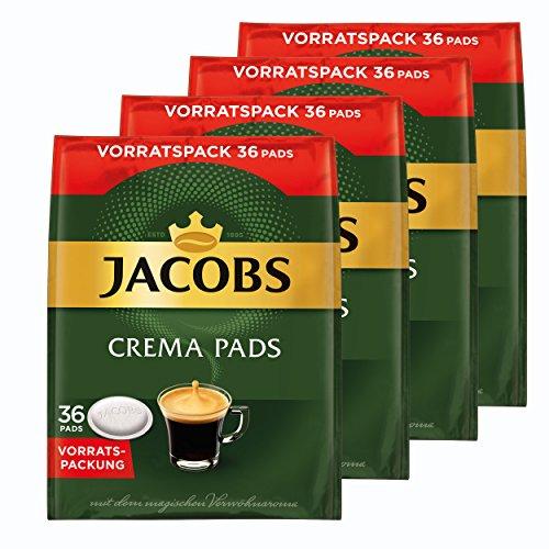 Jacobs Crema Kaffeepads, Vorratspackung, für alle Pad Maschinen, 144 Kaffee Pads, á 6.6 g