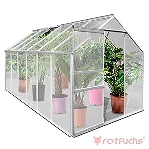 Rotfuchs® GH06 ALU Gewächshaus 7,03 m² - 3,70 m x 1,90 m 6mm Hohlkammerstegplatten