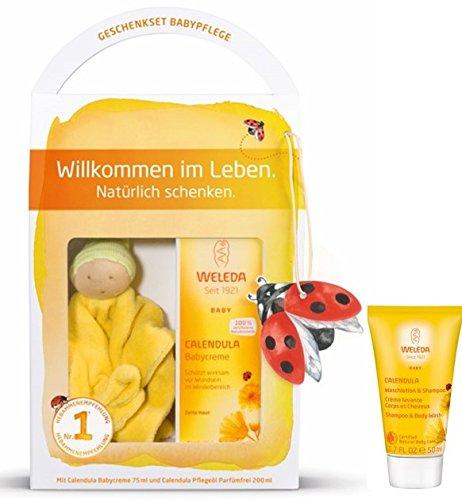 Calendula Plus Creme (Weleda Baby Geschenkset mit Bio-Schmuse-Puppe plus Reisegröße Calendula Waschlotion 50ml)