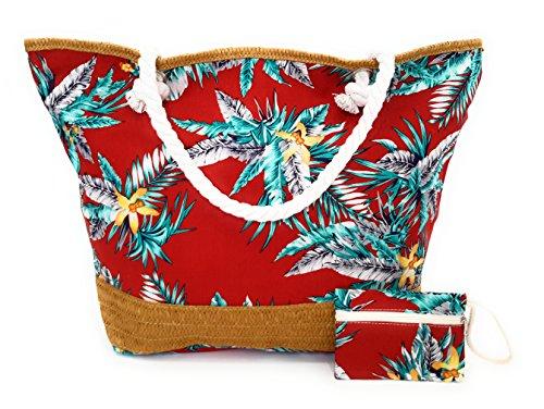 Borsa da Spiaggia Donna Borsa Mare Grande Taille + GRATIS Portamonete, Stella Vari Colore Rosso