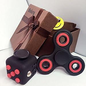 ANKEY 1*Fidget Hand Spinner + 1*Fidget Cube negro + rojo /avec une boîte-cadeau- Soulage le stress pour les enfants et les adultes.rojo / con una caja de regalo - alivia el estrés para los niños y adultos.