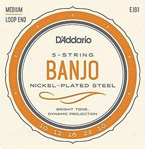 D'Addario EJ61 Medium 10 - 23 Nickel 5-String Banjo String