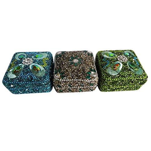 decorativo di monili di sacco in argento set di 3 pezzi da regalo di Natale blu in rilievo handmade scatola della pillola materiale di alluminio di stoccaggio di nozze arredamento casa