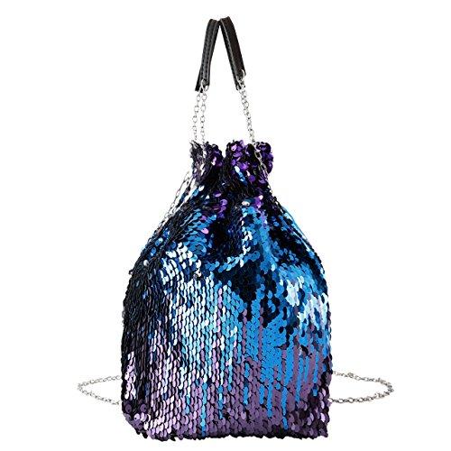 CHIC DIARY Beutel Damen Handtasche Umhängetasche Schultertasche Eimer Tasche Partytasche Pailletten Sequin PU Leder Glitzer mit Zugband (Blau) - Leder Chic Handtasche