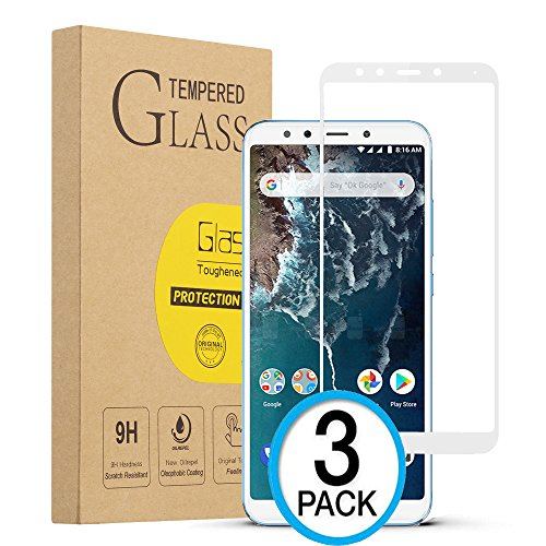 XvDsu Cristal Templado Xiaomi Mi A2,[3 Pack][Cobertura Total] Protector de Pantalla 9H Dureza de Vidrio Templado Película Protectora de teléfono móvil Resistente a los arañazos(Blanco)
