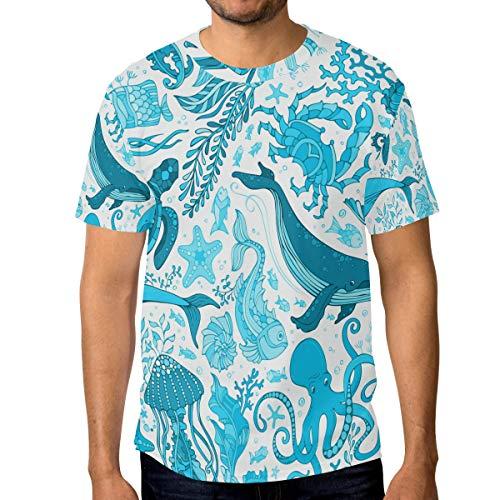 T-Shirt für Männer Jungen Dolphin Octopus Turtle Ocean Animal Benutzerdefinierte Kurzarm (Ocean Tröster Set Königin)