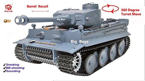 Heng-Long-Radio-remote-Control-German-Tiger-Tank-Silver-Version-BB-shooting-Smoking-Sounding-by-Big-Boyz