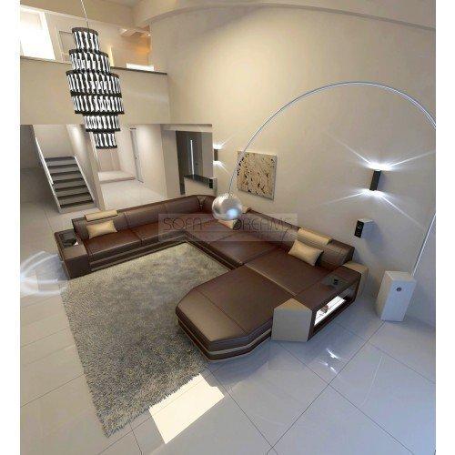 Intérieur de la Maison Canapé en cuir Prato XXL brun foncé - Beige Sable ital. Design