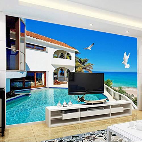 Xbwy Benutzerdefinierte Mural Tapete 3D Stereo Mediterrane Landschaft Foto Wand Mural Wohnzimmer Fernseher Sofa Hintergrund Wand3 D-200X140Cm