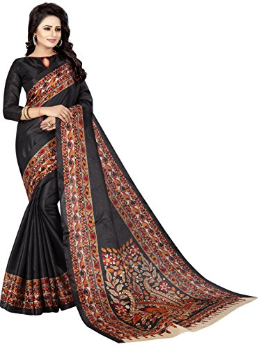 Crazy Women's Printed Bhagalpuri Cotton Saree with Matching Blouse peice (Black)
