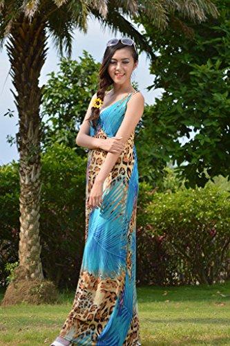 Bigood Robe Grande Taille Femme Soie Imité Sans Manche Col V Plage Soirée Cocktail Longue Ciel Bleu