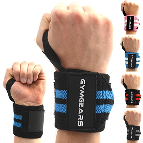 Handgelenkbandage [2er Set] Wrist Wraps 45 cm - Profi Bandagen für Kraftsport, Bodybuilding, Powerlifting, CrossFit & Fitness - Schwarz / Blau