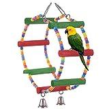 Spielzeug für Vögel Käfig Holztreppe Swing Accessoires für Macaw Papagei afrikanischen grauen Parakeet Mate Conure Spielzeug-Kleiderbügel mit Glocken Budgies Birdcage