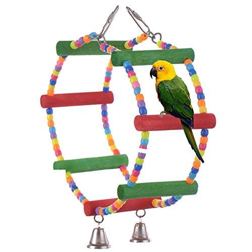 Juguetes para pájaros Accesorios de jaula Escalera de madera Swing para Macaw de loro Grises africanos Parakeet Cockatiel Conure Budgies Birdcage perchas de juguete con campanas